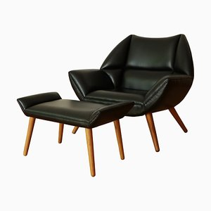 Danish Lounge Chair & Footrest Set by Kurt Østervig, 1960s