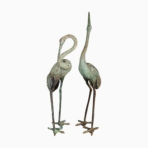 Large Vintage Bronze Crane Sculptures, Set of 2