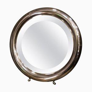 Espejo de tocador vintage redondo plateado con patas