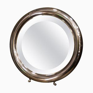 Vintage Round Silver Dressing Table Mirror with Legs