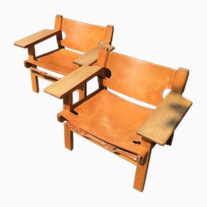 Danish Leather & Oak Lounge Chairs by Børge Mogensen for Fredericia, 1960s, Set of 2