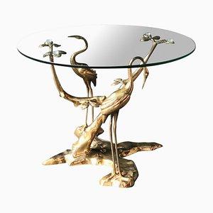 Tavolino da caffè con base scultorea in bronzo di Willy Daro, anni '70