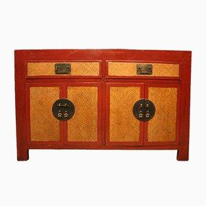 Aparador chino de madera lacada en rojo, años 50