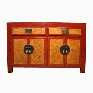 Rotes chinesisches Sideboard aus lackiertem Holz, 1950er
