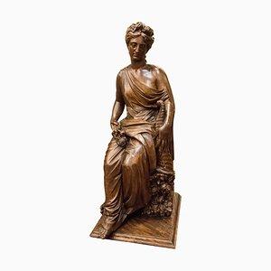 Antike französische Napoleon III Skulptur aus Nussholz, 1860er
