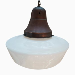 Lampada da tavolo Art Deco in ottone e vetro opalino