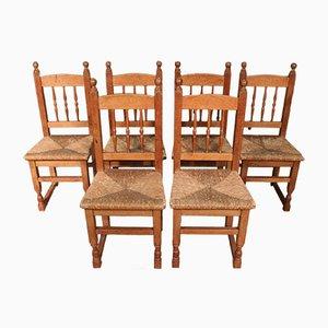 Stühle aus Holz & Stroh, 1950er, 6er Set