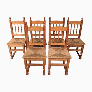 Wood & Straw Chairs, 1950s, Set of 6