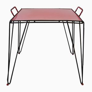Table d'Appoint Vintage en Formica Rouge
