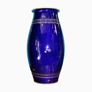 Französische Art Deco Vase in Nachtblau & Gold