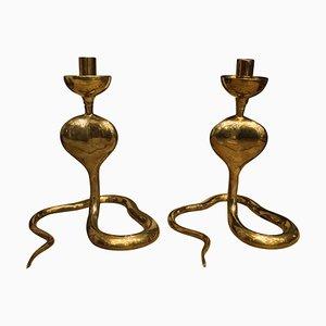 Brass Cobra-Shaped Candlesticks, 1970s, Set of 2