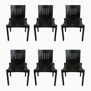 Sedie in legno nero di Thonet, 1993, set di 6