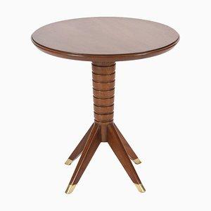 Tavolino basso in mogano e ottone, anni '50