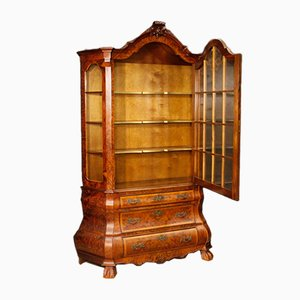 Vintage Dutch Walnut & Beech Showcase Cabinet