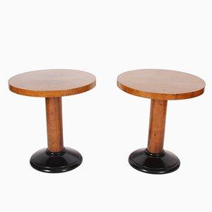 Mesas auxiliares francesas vintage de chapa de madera de arce, años 50. Juego de 2