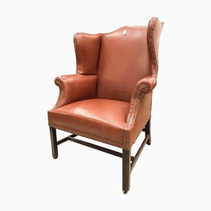 George III English Brown Leather & Oak Armchair, 1790s