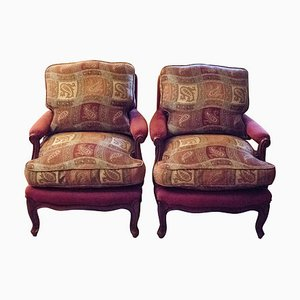 Louis XV Style French Pink Upholstered Walnut Armchairs, 1980s, Set of 2
