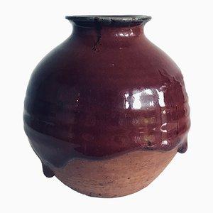 Vintage Enamelled Stoneware Vase by Yves Loiselet