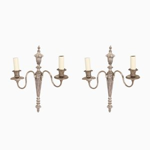 French Silver-Plated Wall Sconces, 1930s, Set of 2