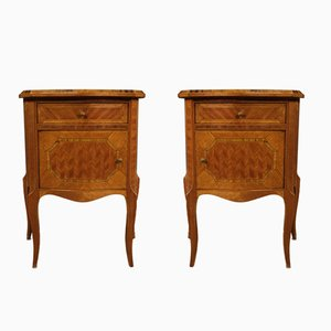 Italian Inlaid Wood Bedside Tables, 1960s, Set of 2