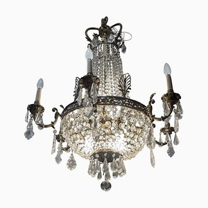Lámpara de araña francesa estilo Luis XV de cristal y latón, década de 1880