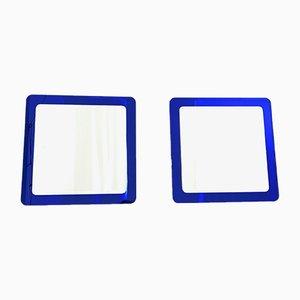 Espejos de pared italianos grandes en azul real, años 70. Juego de 2