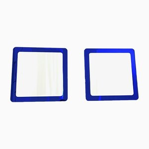 Large Italian Royal Blue Wall Mirrors, 1970s, Set of 2