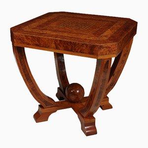 Mesa de centro Art Déco de madera nudosa de tejo, años 30
