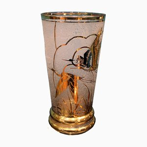 Art Deco French Crystal & Gold Vase by Adat, 1930s