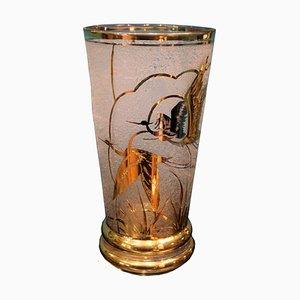 Französische Art Deco Kristallvase in Gold von Adat, 1930er