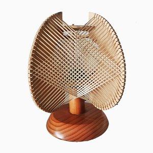 Lampada da tavolo in legno, anni '70
