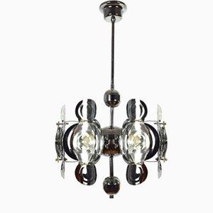 Lampada da soffitto in metallo cromato e vetro di Gaetano Sciolari, anni '60
