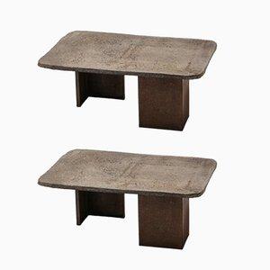 Tavolini brutalisti di Pia Manum, anni '70, set di 2