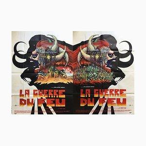 Poster del film La guerra del fuoco di Philippe Druillet, Francia, 1981, set di 3