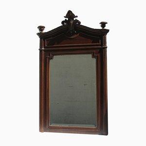 Antiker abgeschrägter Spiegel aus Nussholz