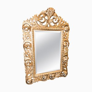 19th-Century French Napoleon III Carved & Golden Wood Mirror, 1880s