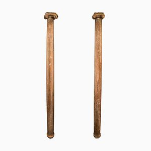 Italienische geschnitzte & vergoldete Säulen aus geschliffenem Holz, 17. Jh., 2er Set