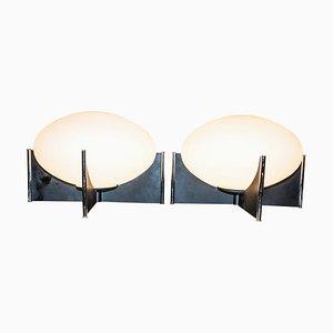Lampes de Bureau Mid-Century en Verre Opalin et en Acier Chromé, Italie, Set de 2