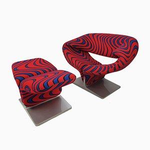 Ribbon Chair mit Ottomane von Pierre Paulin für Artifort, 1980er
