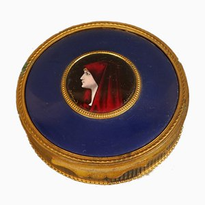Antique Tin and Enamelled Portrait by Bardonnaud for Limoges