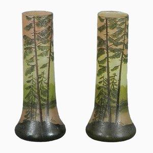 Emaillierte Cameo Vasen im Jugendstil von François-Théodore Legras, 1905, 2er Set
