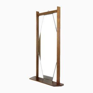 Mid-Century Italian Teak Wood Framed Mirror, 1960s