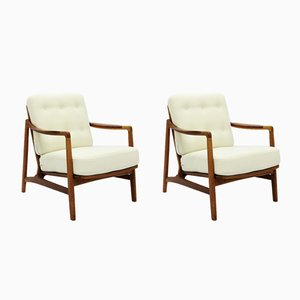 Danish Teak & Oak Easy Chairs by Tove & Edvard Kindt-Larsen, 1950s, Set of 2