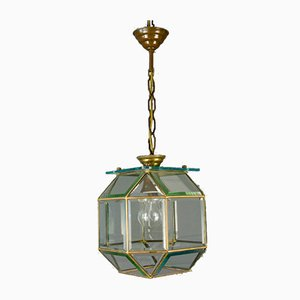 Mid-Century Italian Geometric Beveled Glass & Brass Pendant