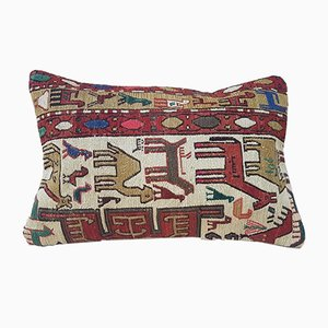 Hand-Embroidered Kilim Throw Pillow Cover with Animal Pattern from Vintage Pillow Store Contemporary