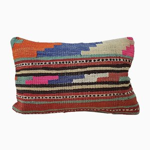 Pink and Orange Wool Kilim Throw Pillow Cover from Vintage Pillow Store Contemporary