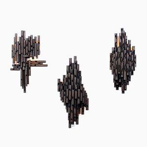 Brutalistische Fackel-Wandleuchten aus geschnittenem & geschweißtem Eisen von Marcello Fantoni, 1960er, 3er Set