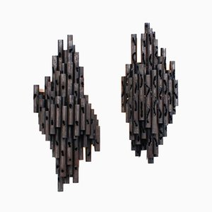 Brutalist Torch Cut & Welded Iron Wall Lighting Sculptures by Marcello Fantoni, 1960s, Set of 2