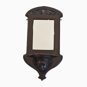 Antique Art Nouveau Mahogany Mirror with Carved Face Detail