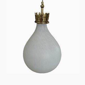 Mid-Century Glass & Brass Pendant